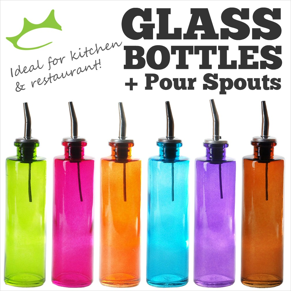 glass bottles and spouts