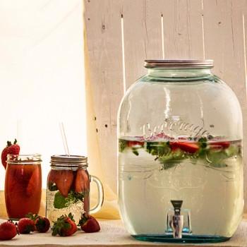422.7 ounce Large Glass Jar with Spigot beverage dispenser
