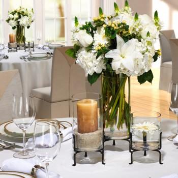 Triple Vase Set for floral or candle arrangements