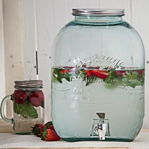 Large Authentic Recycled Glass jar w/ Spigot