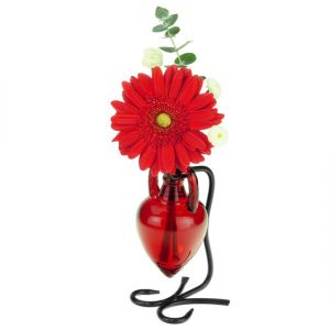 Amphora Recycled Glass Vase & Metal Stand