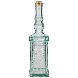 23.7oz ornate recycled glass bottle with cork