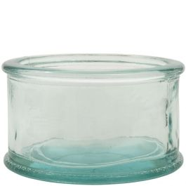 10oz flat round candle recycled glass jar