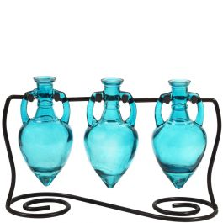 Amphora Three Recycled Glass Vases & Metal Stand - Aqua