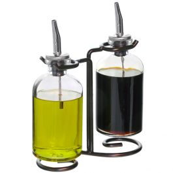 Apothecary Double Oil & Vinegar Glass Cruet Set w/ Stand