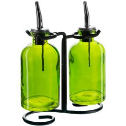 Apothecary Double Oil & Vinegar Glass Cruet Set w/ Stand - Lime