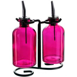 Apothecary Double Oil & Vinegar Glass Cruet Set w/ Stand - Fuchsia