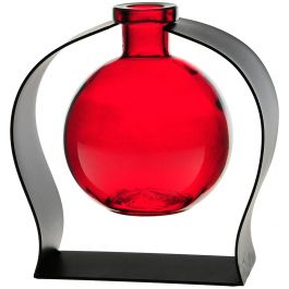 Ball Recycled Glass Vase & Arched Metal Stand - Red