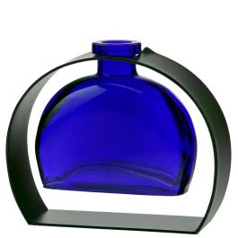 Fiji Recycled Glass Vase & Arched Metal Stand - Cobalt Blue