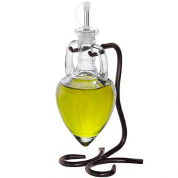 Amphora Single Oil & Vinegar Glass Cruet Set w/Stand