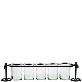 Five Round Glass Containers & Metal Stand