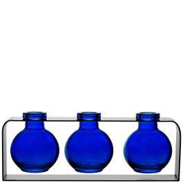 Trivo Three Recycled Glass Vases & Metal Stand - Cobalt Blue