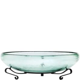 Small Ivy Recycled Glass Bowl & Short Scroll Stand