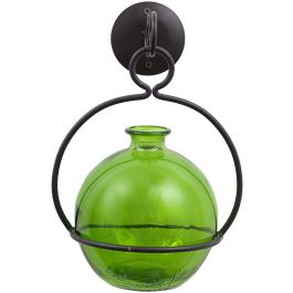"""12.5"""" Ball Glass Container & Metal Globe Hanger - Lime"""